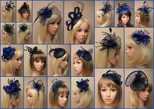 Navy Blue Fascinator Hatinator Wedding Prom Clip Comb Band, Feather, Lot