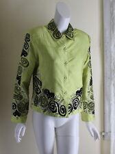 ANAGE -Sz M Wearable Art Silk Chartreuse Lace Boho Textile Fun Funky Jacket