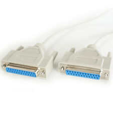 2m 25 Way RS232 Female to Socket Null Modern Cable Lead - Serial Pin DB25