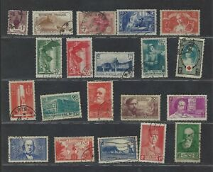 France 1922-1940 Used selection of better Semi-postals incl Louvre B66-67
