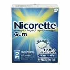 NEW NICORETTE GUM 2mg STOP SMOKING AID WHITE ICE MINT 100 PIECES Exp 10/22