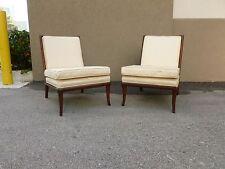 Pair Chic Widdicomb Robsjohn Gibbings Slipper Chairs In Fratelli Silk Fabric - P