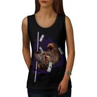 Wellcoda Sloth Cash Funny Animal Womens Tank Top, Wild Athletic Sports Shirt