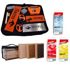 RaceWax Race Tune Kit Ski Snowboard 3 Brushes w/ Full Set of Swix Wax