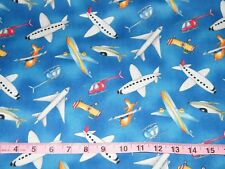 BTY READY FOR TAKEOFF Blue Tossed Planes Print 100% Cotton Quilt Fabric Yard