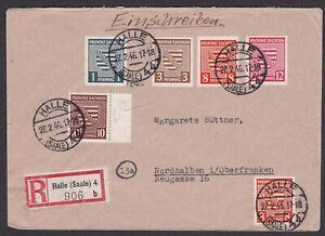 Germany. Soviet Zone. Saxony. Registered Cover to Nordhalben. Sent 27/2/46