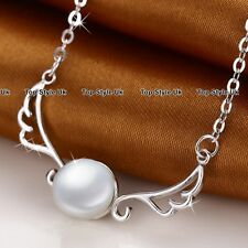 XMAS GIFTS FOR HER - White Pearl & Angel Wings Necklace Women Gifts for Girls K9
