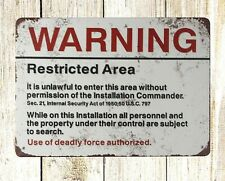 US SELLER- outdoor metal wall art Warning Restricted Area U.S. Military tin sign