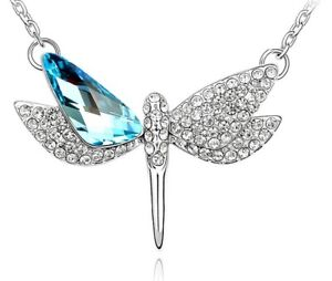 Made with Swarovski Elements Beautiful Aqua Blue Dragonfly Pendant and Necklace