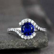 1/4 Ct Round Blue Sapphire 14k White Gold Over Stackable Band Wedding Ring