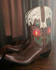 rare guess leather fancy floral leather pointed snip toe cowboy boots 7.5  brown