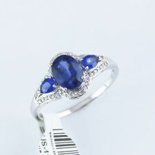 NYJEWEL Brand New 14K White Gold Blue Spinel 0.35ct Diamond Ring