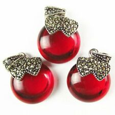 3Pcs Tibetan Silver Inlay Rhinestone Red Crystal Apple Pendant Bead Q59903