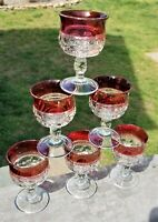 """Set of 6 KINGS CROWN RUBY RED FLASHED TOP Glasses Thumbprint 4"""" Goblet Wine Vtg"""