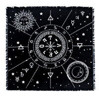 Astrological Tarot Cloth Divination Cards Cotton Square Tapestry With Tassels