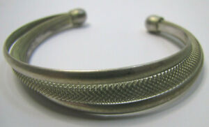 Vintage 925 Sterling Silver Filigree Twist Bracelet Cuff Easy Bend to Your Size
