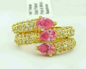 PINK 1.76 Cts & WHITE SAPPHIRES RING 14K YELLOW GOLD PLATED ** New With Tag **