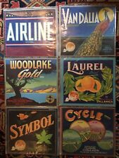 Six Citrus Crate Labels Vintage Graphic Art Advertising California Fruit