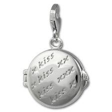 Silberdream Charm 925 Silver Enamel Bracelet Pendant Medallion Kiss FC878W