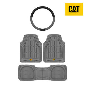 All Weather Heavy Duty Universal Floor Mats / Liner (3pc) + Steering Wheel Cover