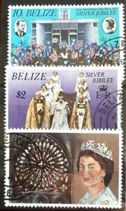 1977 Belize Full Set Of 3 Stamps - Silver Jubilee - PC/LH