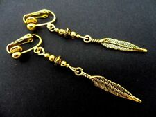 Handmade Feather Clip - On Costume Earrings
