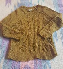 LUCKY BRAND Loose Weave Cable Knit Sweater Rust/Olive XS
