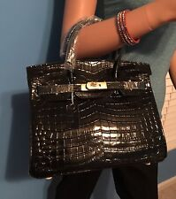 EXOTIC BLACK CROCODILE PRINT 30CM CELEBRITY INSPIRED GENUINE LEATHER BAG TOTE