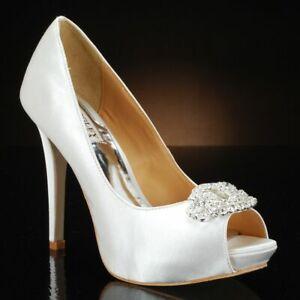 Badgley Mischka Goodie Women's Bridal Shoes Platform Heels Pumps 7.5 White Satin