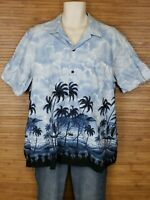 RJC Blue Graphic Hawaiian Aloha Shirt Mens Size XL