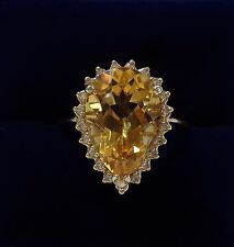 Pear Cut Citrine Ring with Diamond Surround in 9ct Yellow Gold - Size O - 4.6gr
