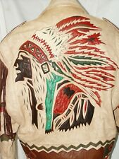 VINTAGE IRA HOSS VOLCANO LEATHER BIKER JACKET,INDIAN CHIEFS HEAD DESIGN SIZE L