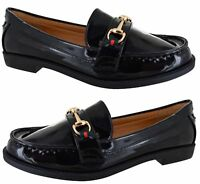LADIES WOMENS DESIGNER LOAFER BLACK PATENT BUCKLE SLIP ON LOW HEEL FLAT SHOES SI