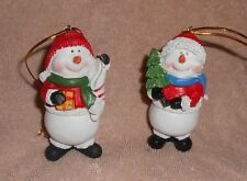 """Lot of 2 Resin Snowman 3.5"""" Tall Ornaments - Very Nice Condition"""