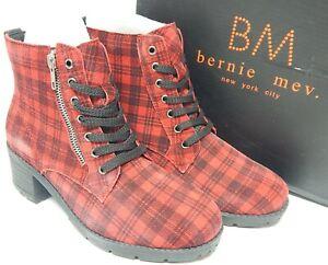 Bernie Mev TW198 Size US 9.5-10 M EU 40 Women's Block Heel Combat Boot Red Plaid