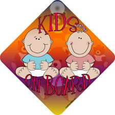 """ KIDS ON BOARD "" BOY & GIRL CAR REAR WINDOW SIGN NEW"