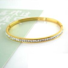 24k Yellow Gold Filled Charm Bangle Women Smooth CZ Bracelet 4mm GF Jewelry Chic