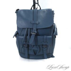 #1 MENSWEAR RECENT LNWOT Coach B1877 Slate Blue Leather Backback Rucksack Bag NR