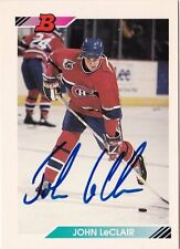 John LeClair Montreal Canadiens 1992 Bowman Autographed Hockey Card