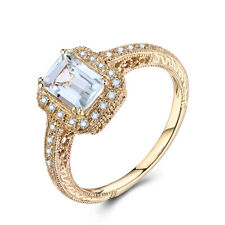 Aquamarine Emerald 7x5mm Diamonds Gemstone Vintage Ring Solid 10K Yellow Gold