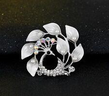 NiX 1527 Brooch Pearl Silver Plated Flower Peacock New Rhinestone Wedding Women
