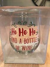 Stemless Wine Glass -Ho Ho Ho And A Bottle Of Wine-Holds A Full Bottle 32oz New