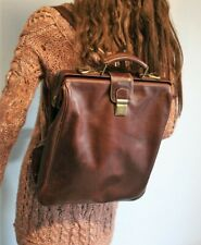 European HANDCRAFTED Tan Brown LEATHER Top Handle Backpack Shoulder HANDBAG
