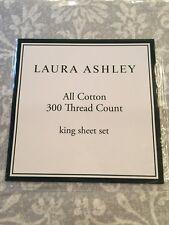 LAURA ASHLEY Camden 4PC KING SHEET SET 100% Cotton Faded Gray Ivory NIP
