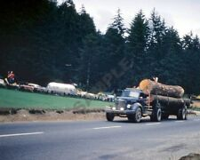 """1950's Log Semi Truck and Trailer Rig 8""""x 10"""" Photo 7"""