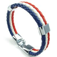 2X(Schmuck Armband, Frankreich Franzoesisch Flagge Armreif, Leder Legierung, 3I
