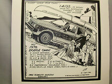 1978 Dodge Omni  Auto Pen Ink Hand Drawn  Poster Automotive Museum