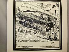 1978 Dodge Omni  Auto Pen Ink Hand Drawn  Poster Automotive Museum