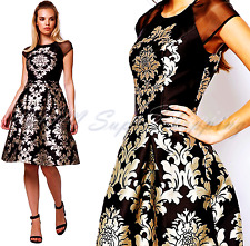 CHI CHI LONDON BAROQUE DRESS BLACK & GOLD PROM WEDDING PARTY M 10 UK 38 EU 6 US