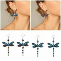 Gorgeous Colors Dragonfly Crystal Rhinestone Silver Plated Hook Earrings Fashion